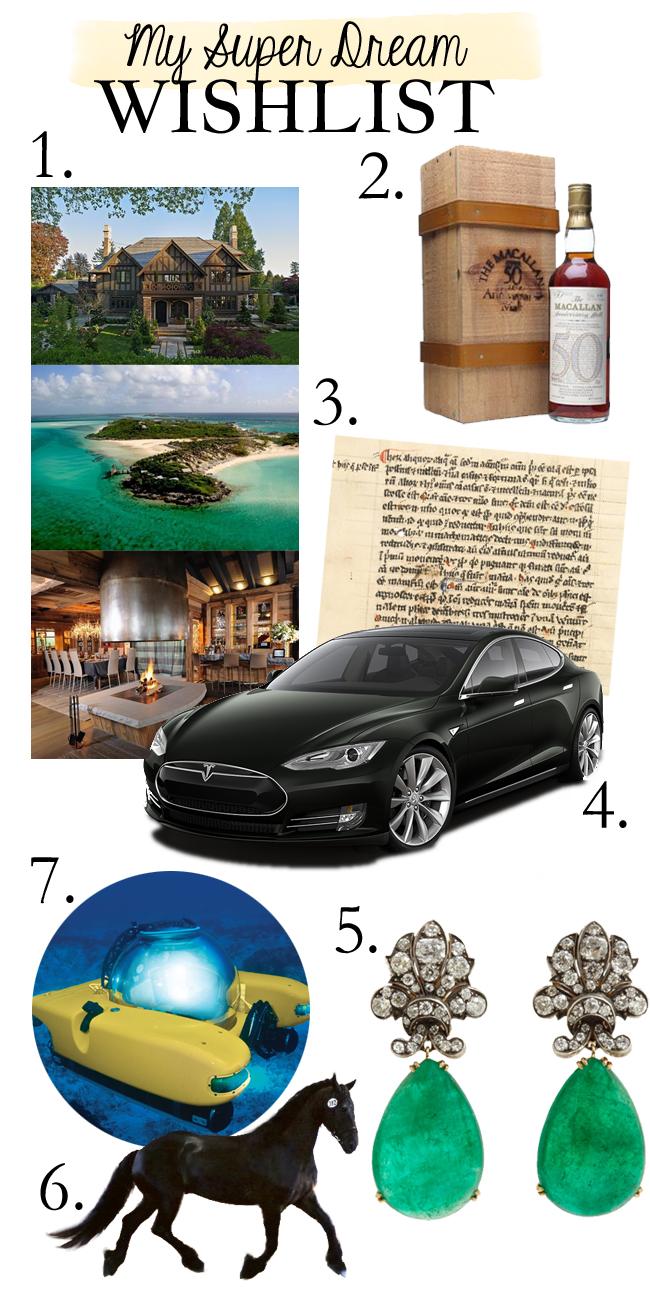 Super Dream Wishlist - luxury real estate, rare scotch whisky, manuscript, diamond and emerald earrings, dressage horse, personal submarine