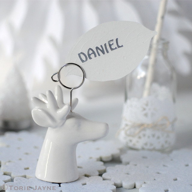 Porcelain Stag Head Place Name Holder