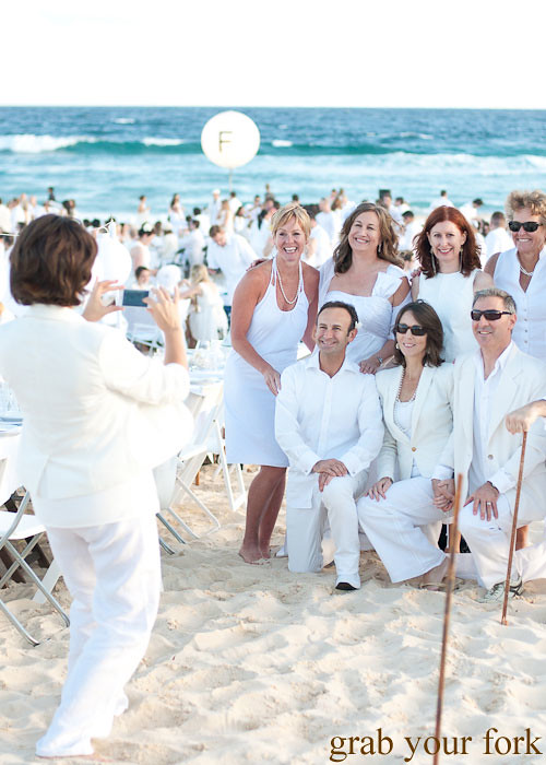 Posing for photos at Diner en Blanc Sydney 2013 Bondi Beach