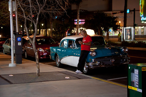 Taxi Driver in a Classic Car at Night - Miami Beach, FL
