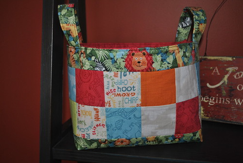 Basket of Charm pattern by Sweet Jane, Jungle fabric by Makower UK Andover
