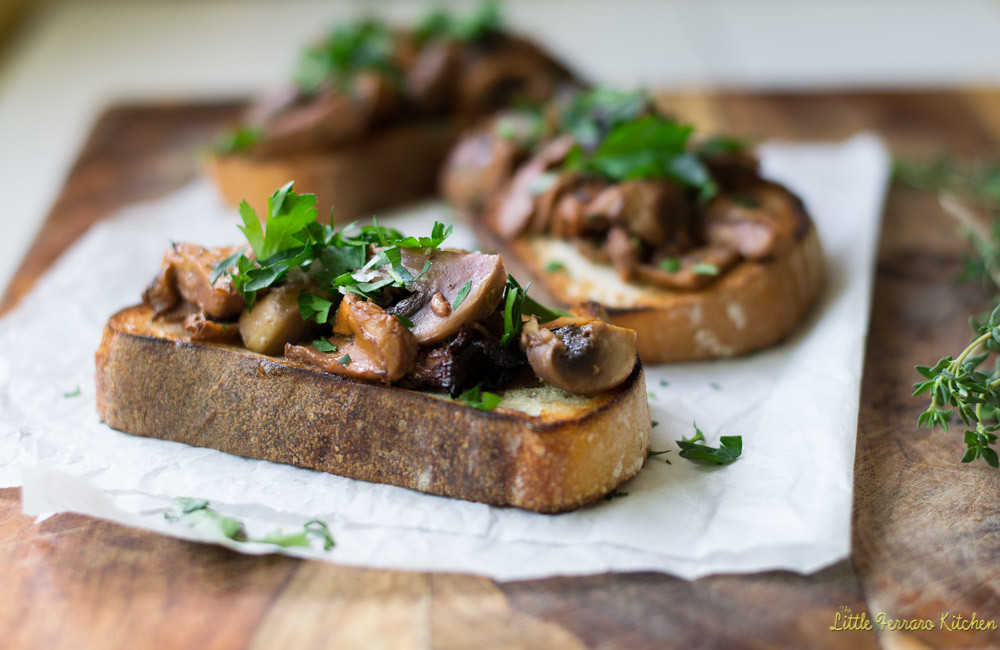 Roasted Mushroom Crostini with Wine and Herbs via LittleFerraroKitchen.com