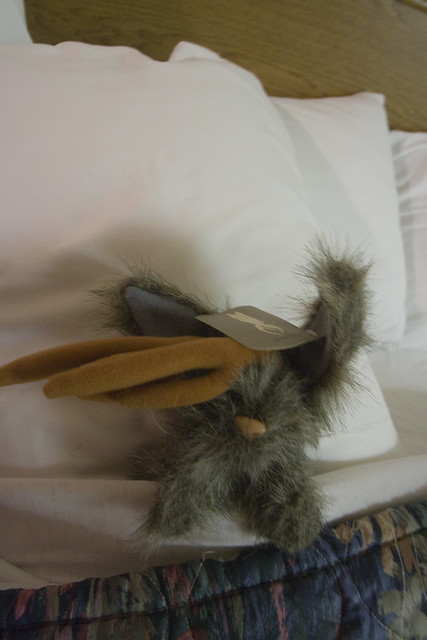 Stuffed Jackalope in Bed