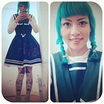Outfit to match my sea-creature character. I this dress and my tight have narwhals on whooopp~*