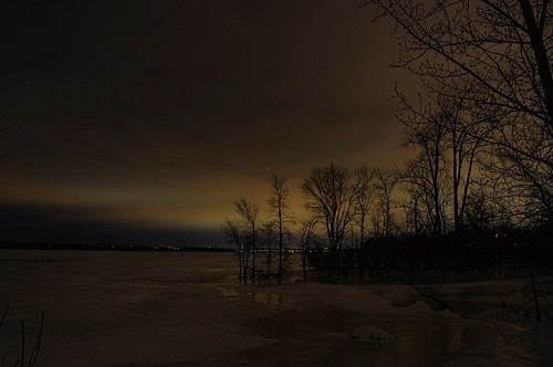 sky canada tree ice night river dark landscape lights frozen cloudy ottawa aurora northern borealis beyondhue