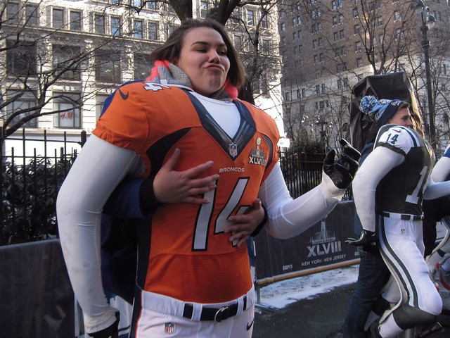 Super Bowl Boulevard NYC: Broncos photo op