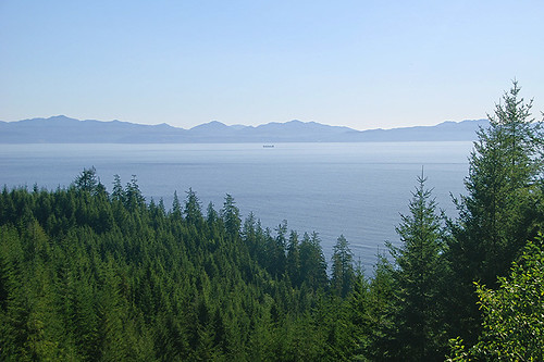 Juan de Fuca Strait viewed from the West Coast Highway 14, Vancouver Island, British Columbia, Canada