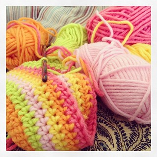 Liking this combo of #myboshi colours. This is a hat for Amelie. #crochet