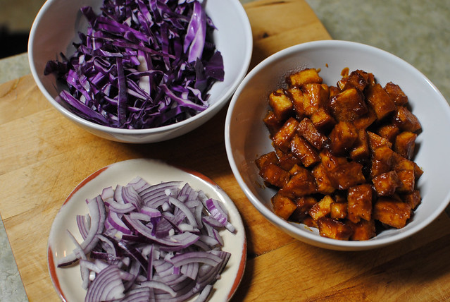 [37/365] BBQ tofu, Cabbage, Onions