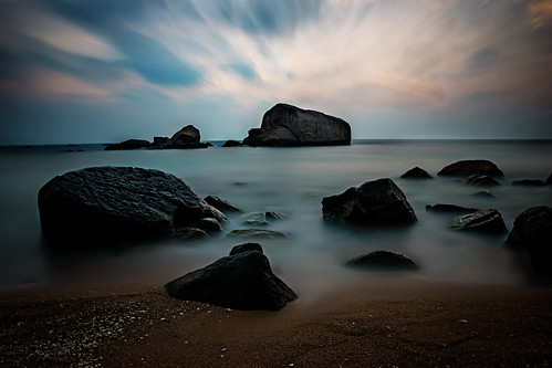 ocean longexposure morning sea sky water beautiful rock clouds sunrise thailand island dawn early asia seasia paradise view dusk smooth scenic boulder boulders idyllic kohtao a77 2014 suratthani 1650