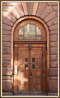old door in evening sunlight