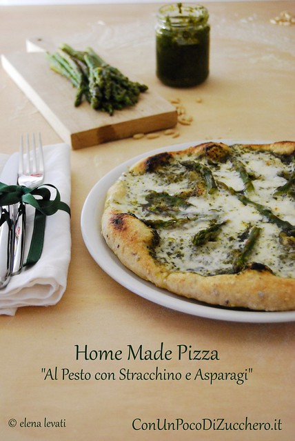 Home made pizza with pesto sauce