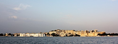 Wide view of two Udaipur palaces