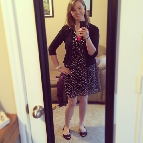 I usually wear this dress with a belt, but I'm mixing it up today. Maybe it needs the belt for pink and polka dots #ootd? #sharpdressedlady #cutthetopofmyheadoffagain