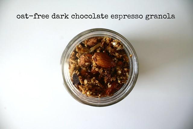 oat-free dark chocolate espresso granola by cocinadecella.com
