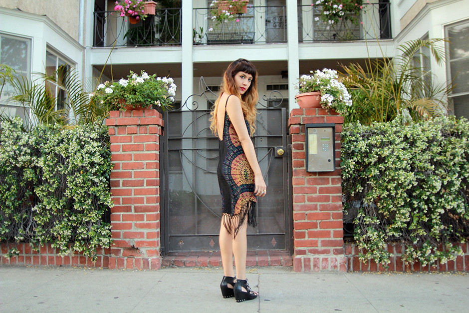 Cleobella Fringe Dress, Dolce Vita Helix Wedges