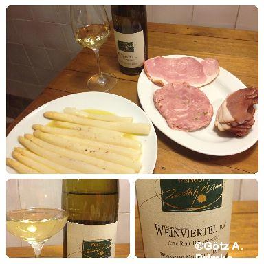 Spargel in Alufolie mit Schinken und 2011 Grüner Veltliner vom Weingut Norbert Bauer Mai_2014_07