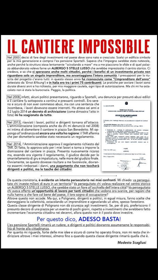 lettera manifesto protesta modesto scagliusi