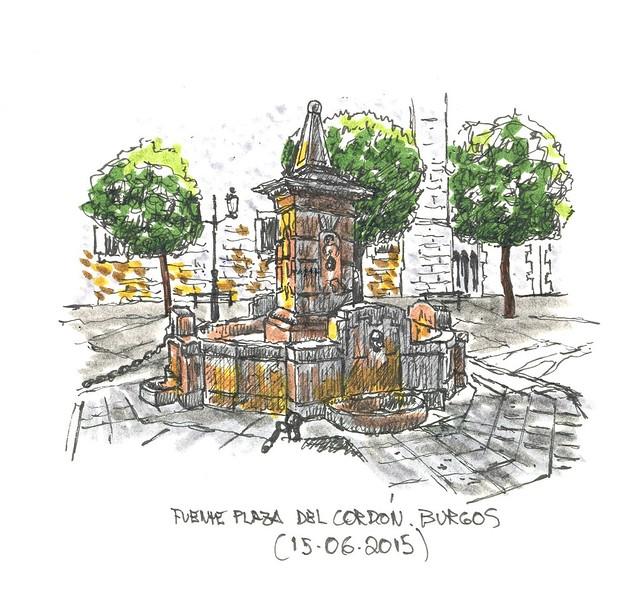 Burgos. Fuente en la Plaza del Cordón