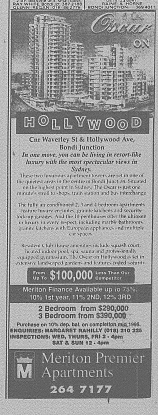 Oscar on Hollywood Ad June 24 1995 SMH 84