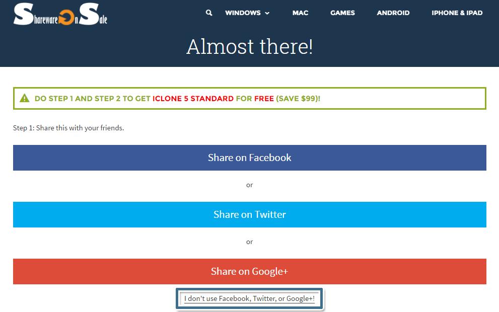 不分享優惠資訊到社交網站也可以