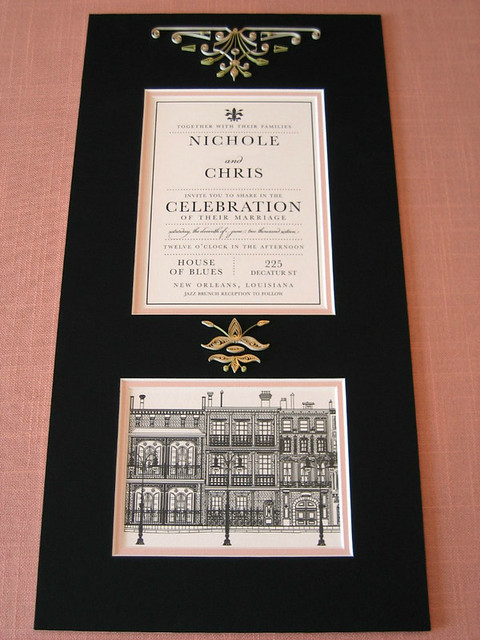 Quilled Wedding Invitation Mat - New Orleans Style