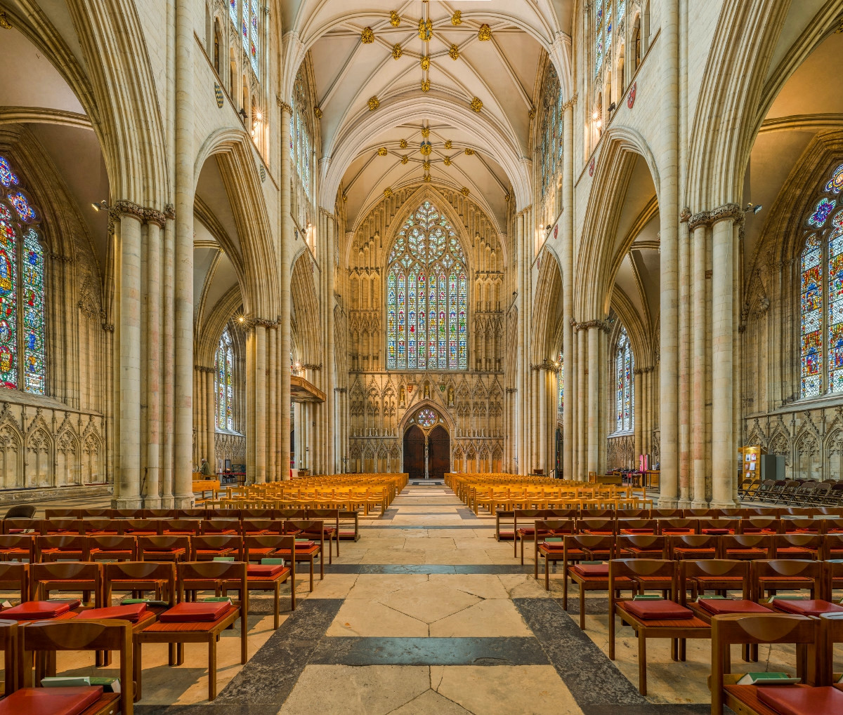 The nave of York Minster looking towards the West Window. Credit David Iliff