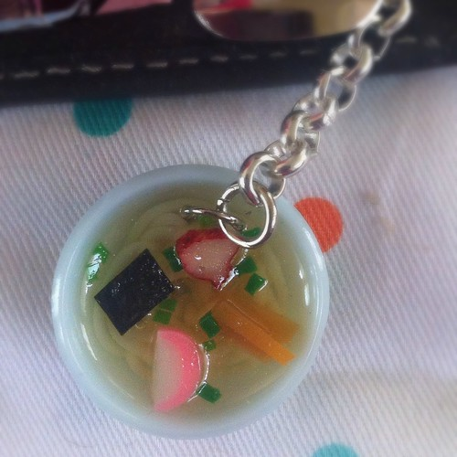 Ramen noodle cell phone charm close up