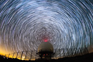 Radio waves. Star trails around a FAA radar dome atop Mount Laguna. Different processing.