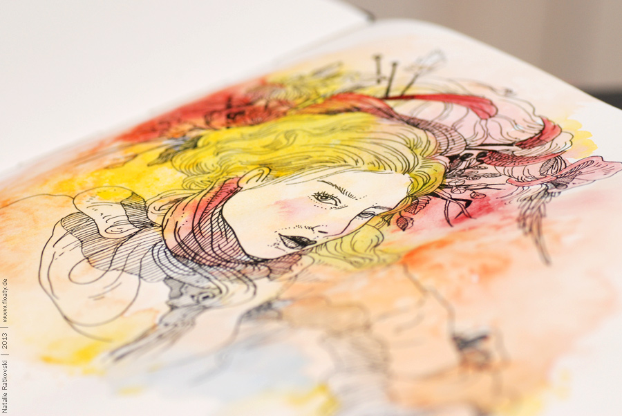 India ink and aquarelle