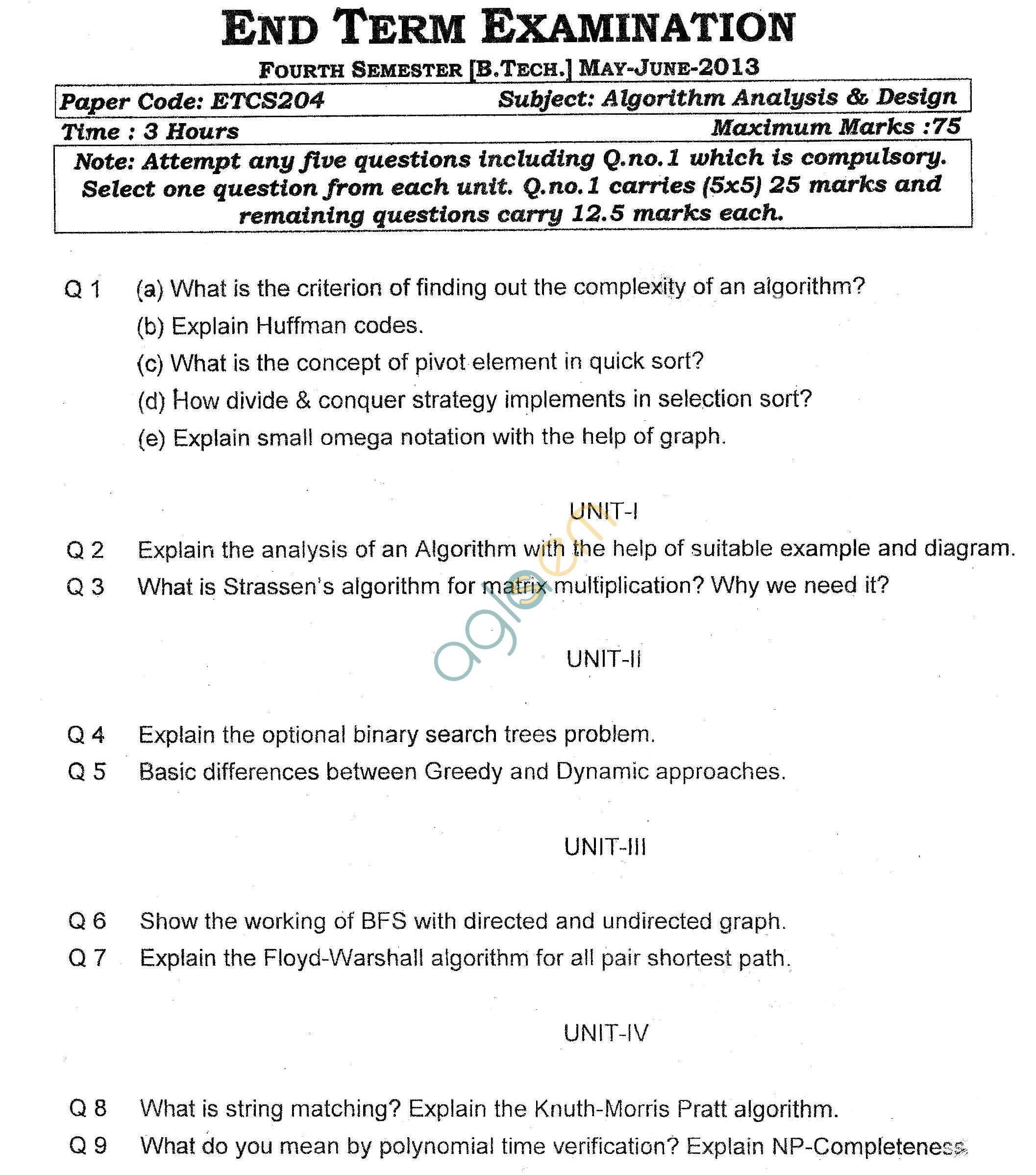 GGSIPU Question Papers Fourth Semester – End Term 2013 – ETCS-204