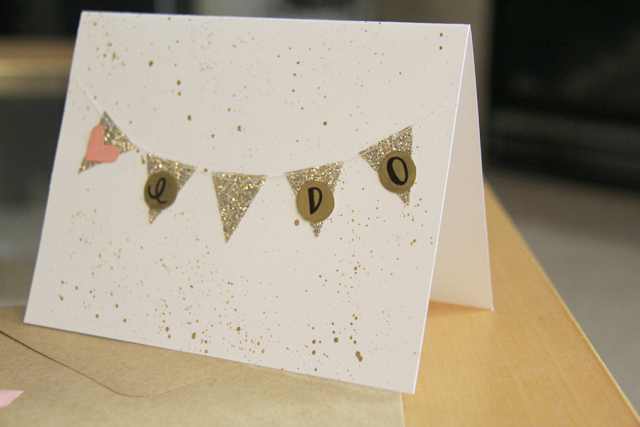 custom wedding card from etsy, champagne-colored glitter bunting flags, bunting flags on a greeting card, wedding card ideas, handmade wedding cards, fancy wedding cards from etsy, cheap wedding cards sold online