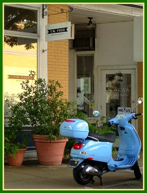 Observatory Hill - Vespa parked in front of T. W. Food, Cambridge, MA