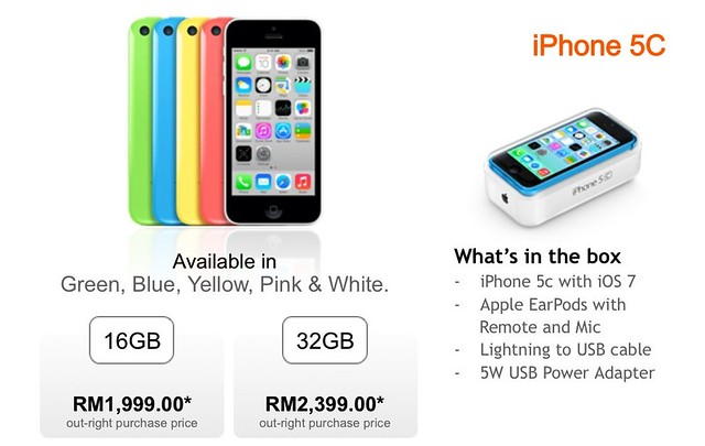 Official Pricing Of IPhone 5S And 5C In Malaysia