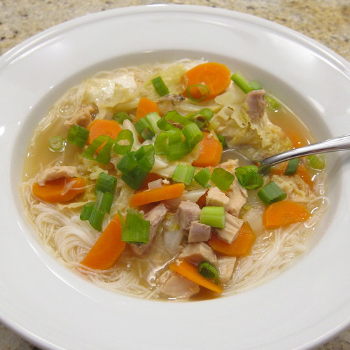 Chicken, Cabbage and Noodle Soup