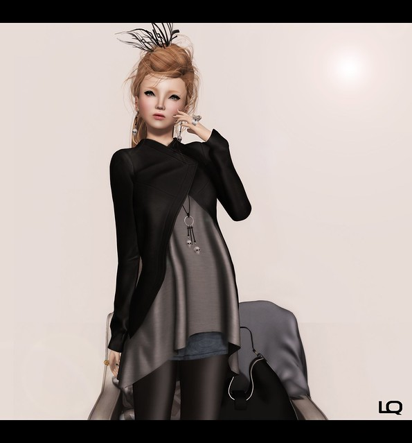 Last Day for Oct C88 ISON - leather asymmetrical jacket & Glam Affair Elvi