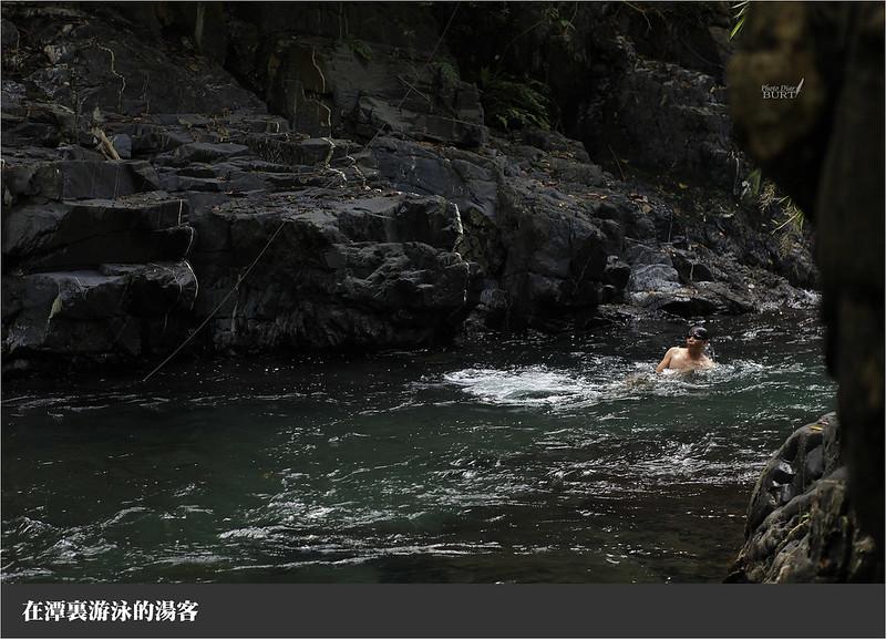 在潭裏游泳的湯客