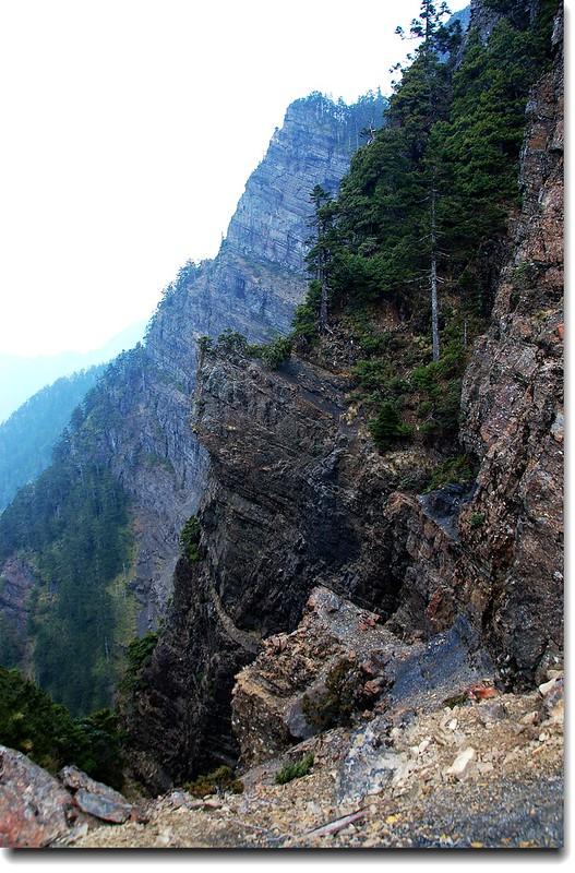 玉山南峰西稜西側斷崖