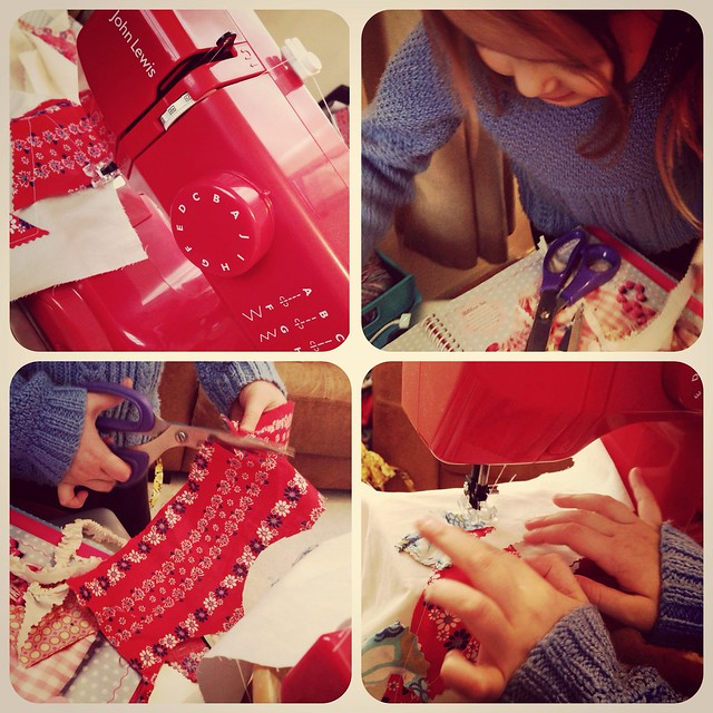 Little Miss has been busy sewing with the mini machine from the John Lewis Blogger Secret Santa