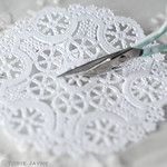 Cut doily in half