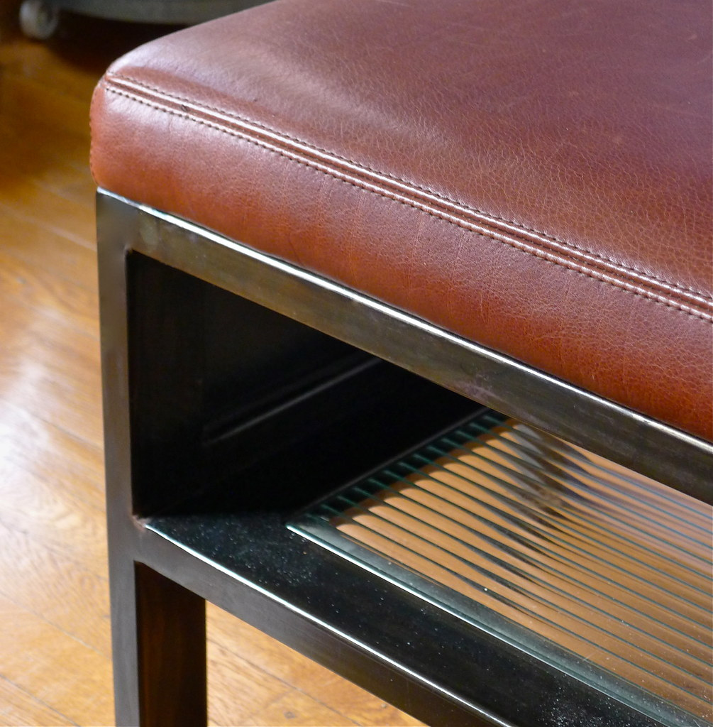 Cold rolled steel grill 5406 contemporary chicago by kramer - Detail Bench In Leather And Steel And Fluted Glass Kramer Design