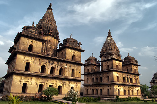 travel sky india building travelling architecture clouds buildings asian asia afternoon village spires indian tomb domes tombs hdr highdynamicrange southasia southasian madhyapradesh orchha travelphotography cenotaphs indianarchitecture centaph asianarchitecture chhatri chhatris