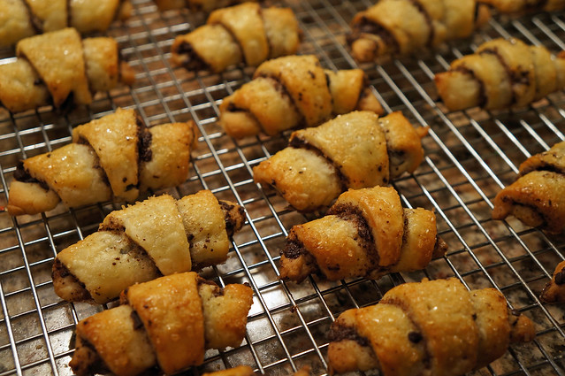 chocolate rugelach baked