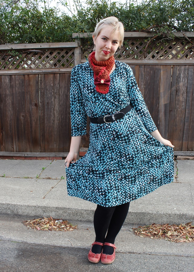 Teal Patterned Tea-Length Dress, Auburn Pumpkin Scarf, Black Knee Socks - OOTD 1/8/2014