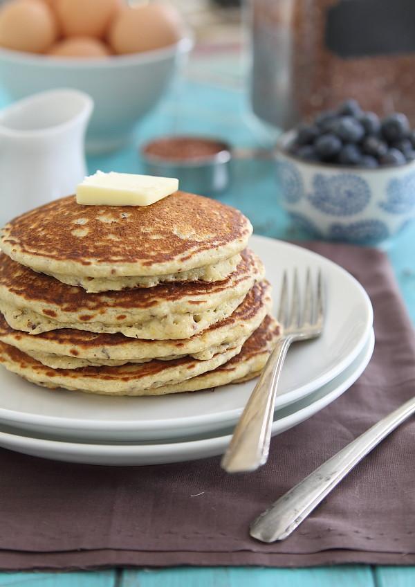 Gluten-Free Meyer Lemon Quinoa Pancakes - part of the 15-minute Quinoa Breakfast Recipes Roundup!