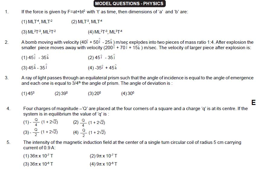 EAMCET Sample Questions - Physics