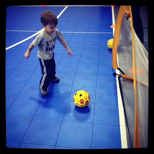 Our first time playing soccer