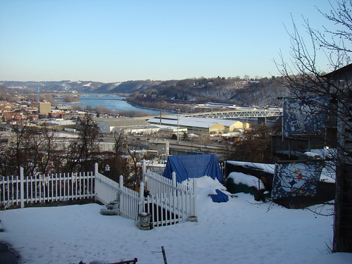 View up the Allegheny from Morelock St - Borough of Etna, Feb. 18th 2014
