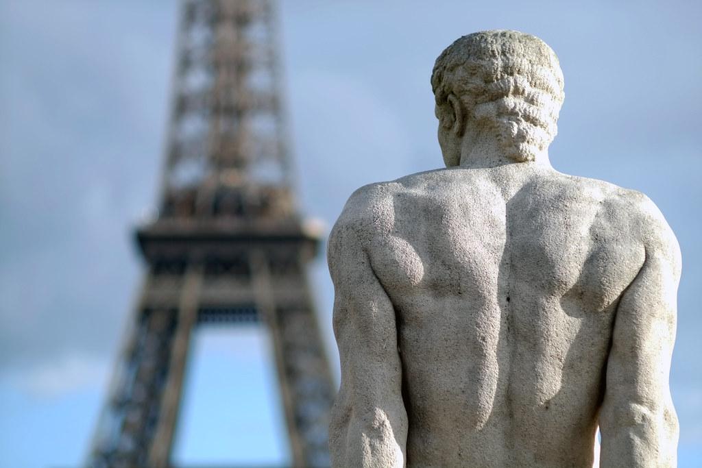 Statue enjoying a stunning Parisian view