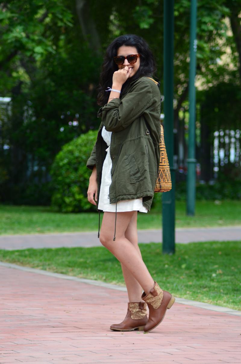 florenciablog green parka zara stradivarius look beig bolso hippie mochila gandia fashion style (12)
